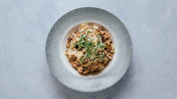 blu beach trio mushroom risotto